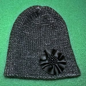 Knitted Beanie with Satin Flower Pin